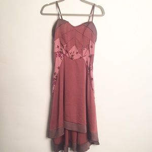 Free people patchwork mauve sweetheart dress S